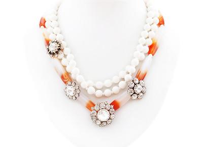 "Colier ""Dark Heroes""  Realizat din : Agate,Coral alb natural,Pandante cu cristale  realizat de: Statement Jewelry By Ioana Enache"