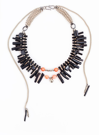 "Colier ""Black Daring Coral"" Realizat din : Coral negru natural,Coral corai natural,Pirita,Spinel  ~Dare to wear Black , even if it's Summer!~  realizat de: Statement Jewelry By Ioana Enache"