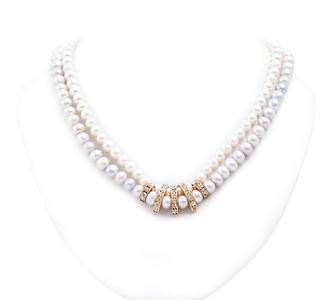 "Colier ""Double Pearls Swarovski"" Realizat din: Perle de cultura,Swarovki Elements,accesorii aurite.  realizat de: Statement Jewelry By Ioana Enache"