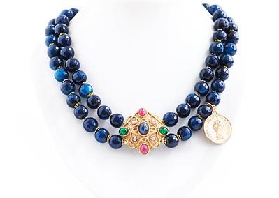 "Colier ""Aristocratic Viper"" Realizat din : Agate ,Pandante Vintage unicate, accesorii aurite  realizat de: Statement Jewelry By Ioana Enache"