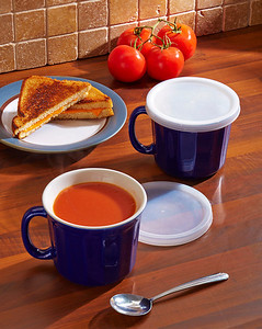 Set of 2 Covered Soup Mugs