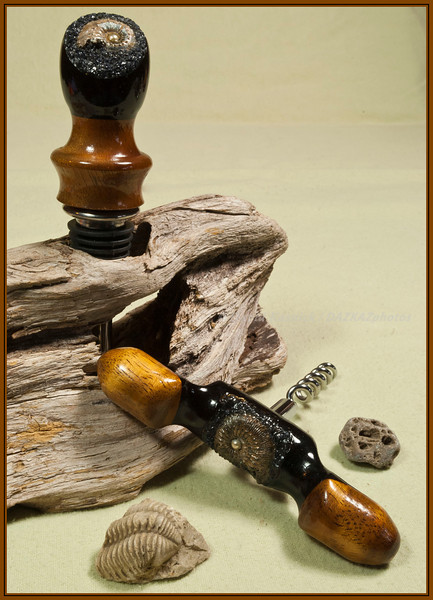 05 Fossil Stoper / Corkscrew Set - Courtesy of Black Lantern Woodworks
