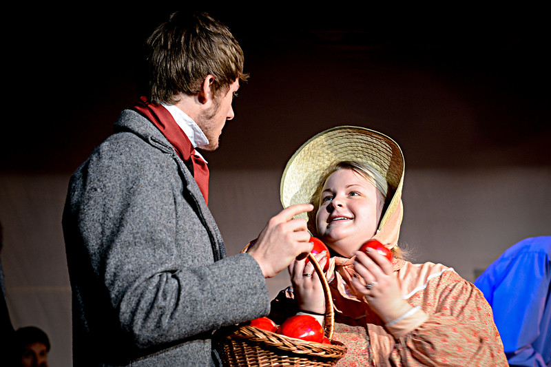 "Jordan Spackman and Meira Wood acting in the play "" A Christmas Carol""  in Perry On November 17, 2012."