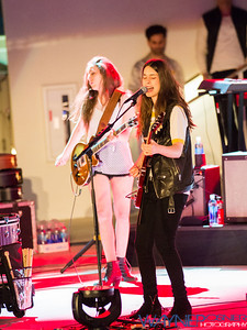 HAIM performs on the Mophie Stage at The Cosmopolitan in Las Vegas NV on Apr 17, 2014
