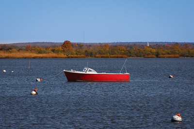North Cove Autumn Old Lyme's steeple visible. Old Saybrook, CT