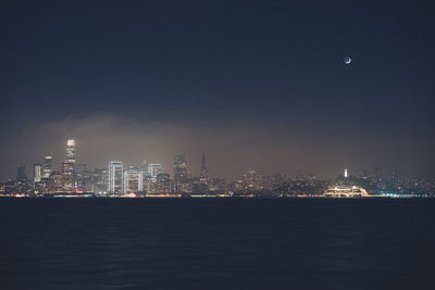 Moonset over Coit Tower