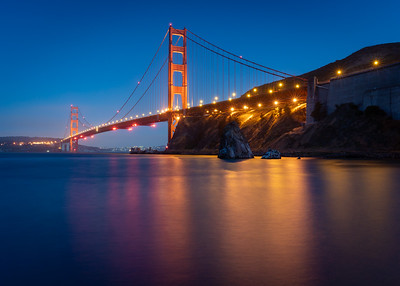 Night lights at the Golden Gate Bridge