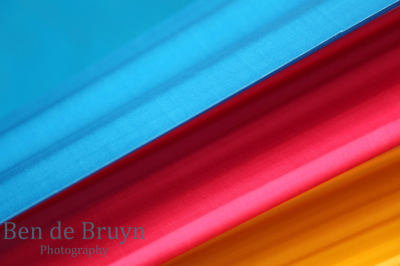 Blue red and yellow stripes in vibrant color smooth and silky material