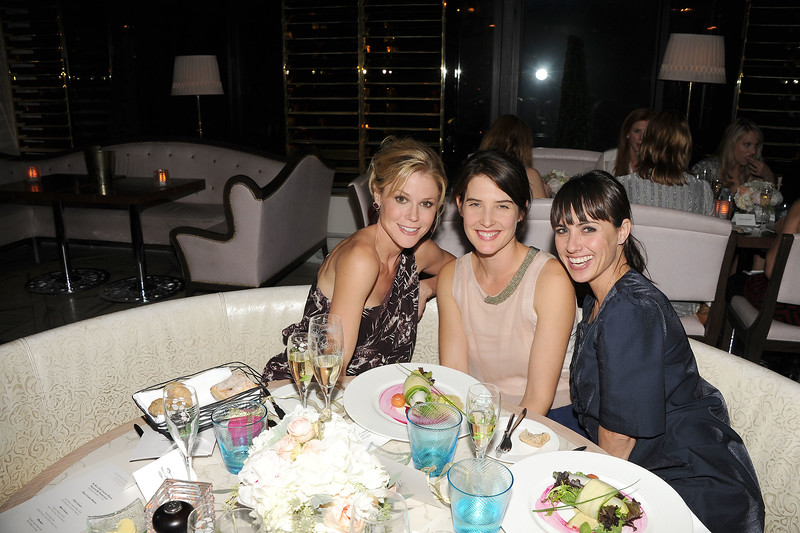 Julie Bowen, from left, Cobie Smulders, and Constance Zimmer are seen at the The Buzz Girls Perrier Jouet Creatives dinner on Wednesday, Nov. 14, 2012 in Los Angeles, Calif. (Photo by Katy Winn/Invision for The Buzz Girls/AP Images)