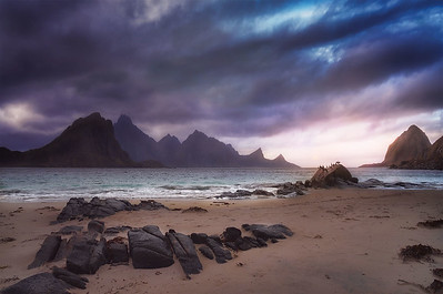 Light and clouds in the artic beach