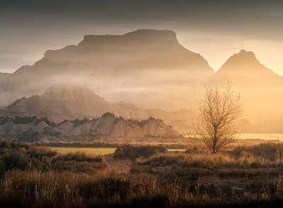 Navarra foggy sunrise in Bardenas A737455