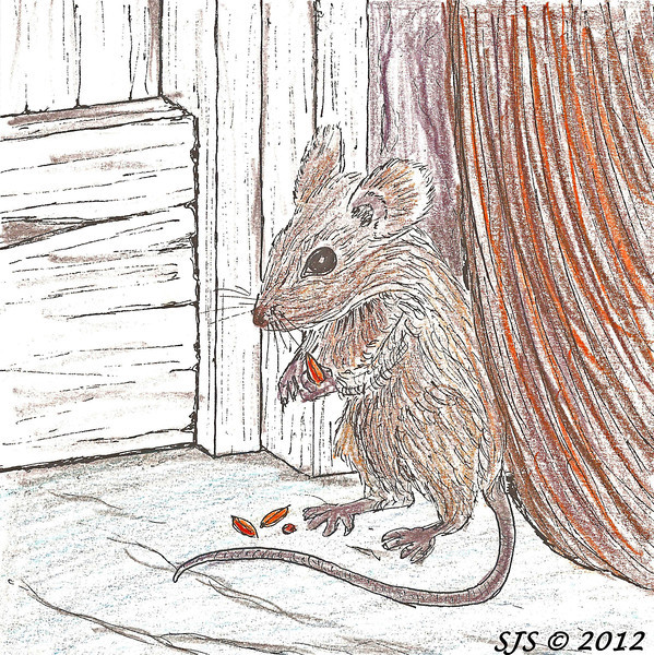 The small field mouse tucked behind a broom - from the finished sculpted piece.  This could be finished as a 3-dimensional, tabletop piece to add some variety.