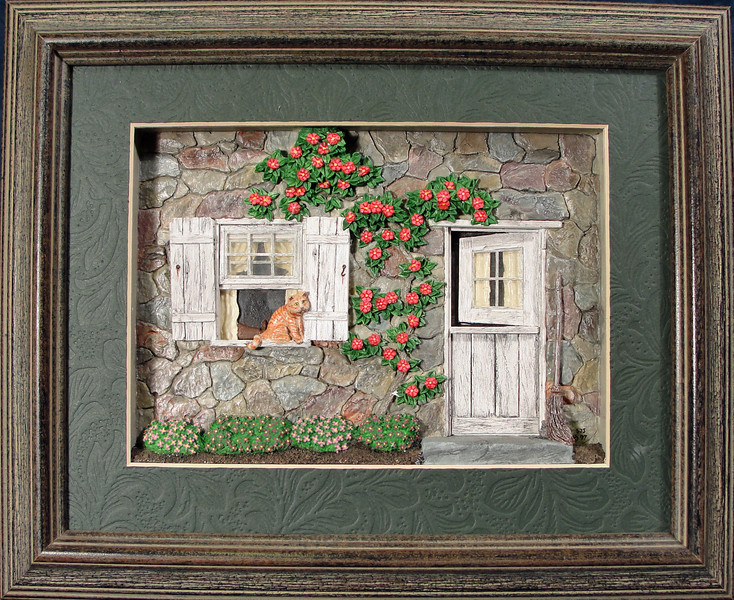 Country Life Series - This original work is part of a series of deep bas-relief pieces that were meant to be framed and displayed together on a wall or tabletop.   Added details included multi-layered windows, weathered wood and mini story elements like the mouse hiding from the cat,