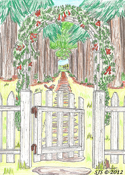 Gate to the woods.  Trumpet vines cover the trellis as the wren and mouse invite the viewer out for a walk in the woods.