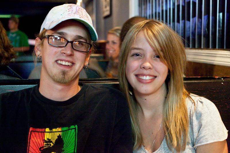 Sharing a booth at Zanzabar were Stephen Bornschein and Lauren Wells.