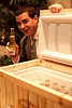David Himmelein shows off a cooler full of Corona he was hoarding in a corner. Or maybe it was a silent auction item. I can't remember.