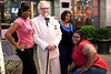 I walked up onto this scene and found LaQuasa Terrell, Meliva Hall, and Elizabeth Thompson having some fun with Kentucky Colonel Don Decker.