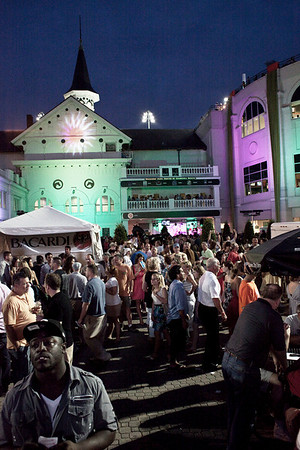 The crowds filled the paddock at Churchill Downs to celebrate the return of night racing at the historic track.