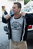 Bo Bott models his retro T-shirt in honor of neighborhood pride.