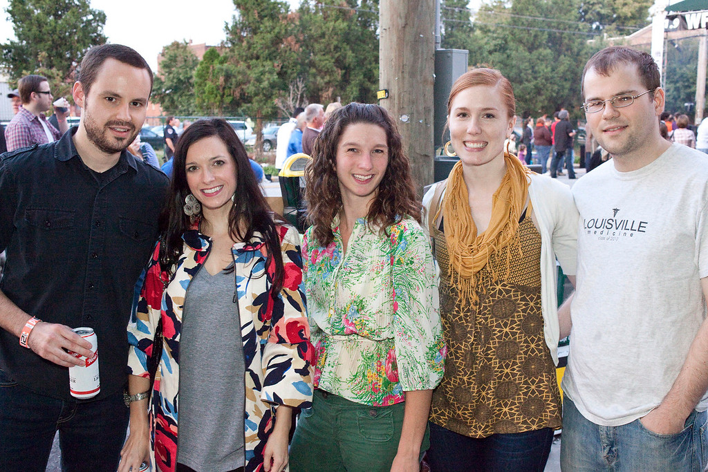 Marc Ettensohm, Megan Conley, Jessica Chism, Rachel Hungerbuhler, and Brandon West find a spot to hang out.