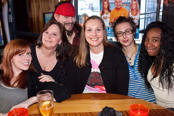 Tiffany Smith, Patty Wolfe, Jenni Schelling, Skott McFlea, and Dorissa Moore shared a table (while Pirate Logan crashed the shot.)