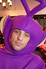 Kevin Purcell likes to rock out Teletubby-style.