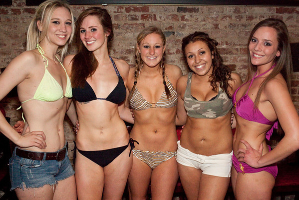Destiny Wheatley, Tracy Zellers, Chelsie Crume, Sarah Troxel, and Lauren Pfeiffer finish up a weekend of female on female sports that included Bikini Bowling, Jell-O Wrestling, and Bikini Boxing at Sports and Social Club.