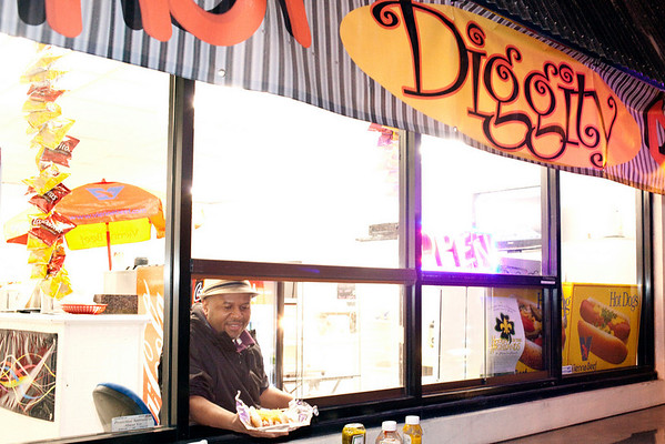 Mr. Jackson at the Hot Diggity Dogs is winning hearts and minds one frankfurter at a time.