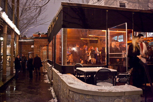 O'Shea's Tavern was one of a few spots along Baxter Avenue that had a full house despite the snow showers of Friday night.