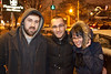 M. Barzuk, Shane Dyer, and Sunny Allen keep warm while braving the snowy bar scene along Baxter Avenue.
