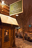 Flanagan's Ale House didn't have the usual sidewalk culture as snow blanketed the area in under an hour.