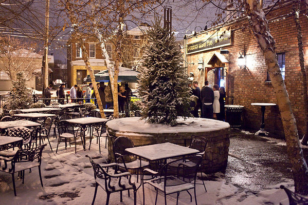 The smoking patio at O'Shea's was covered in snow by midnight.