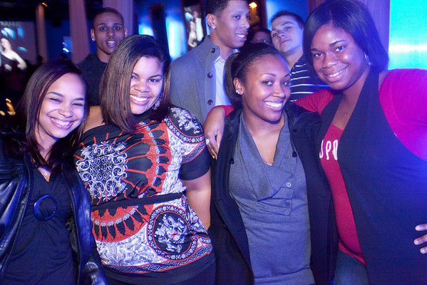 Marchana Zolicoffer, Meliva Hall, Pam Case, and Elizabeth Thompson bask in the cool blue light of Hotel Nightclub.