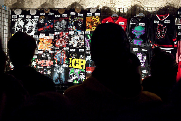 The shirt booth is always a popular spot.