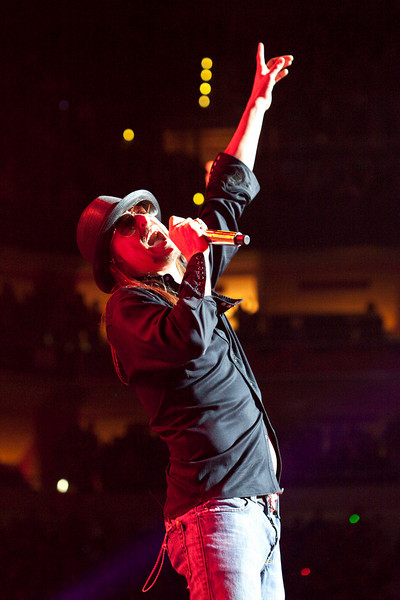 Kid Rock serves up a slew of hit songs to the near capacity crowd at the Yum! Center.