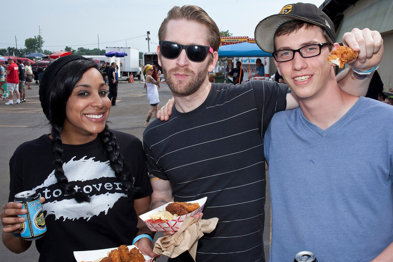 Tianna Phillips, Eric Odness, and Chas Lee enjoy some southern fried food.