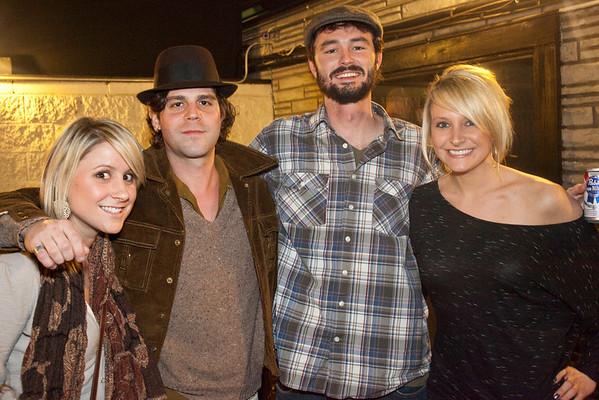 "Christen Scholl, featured act Langhorne Slim, Mitchell Schott, and Rachel Manley get a ""fan"" photo together."