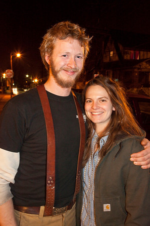 Lucas Sweeten and Jen Legnini catch some sidewalk time together.