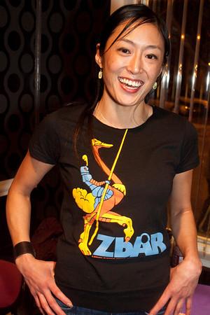 Doris Kim sports the Zanzabar t-shirt.