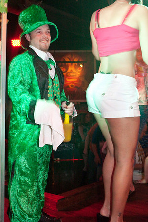 Jamie Evans returns for day two of leprechaun duties and administers shots to the thirsty.