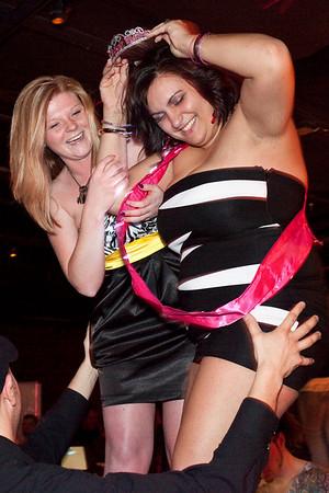 Birthday girls Tiffany Mitchell and Nancy Shaw do some bar-top dancing.