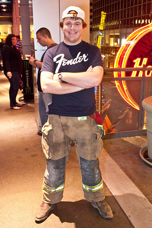 Chris Ison likes to sport fireman pants when in the club.