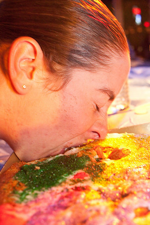 A cake eating contest was part of the Mardi Gras celebration and participants were ready to grub.