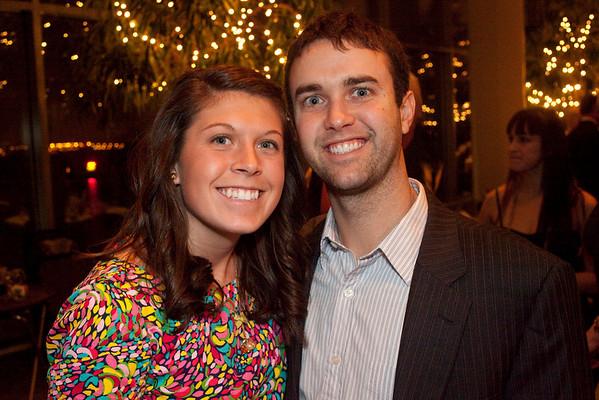 Sarah Berginski and Kyle Markham get close for the shot.