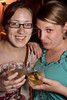 Meredith Maple and Aven Purcell prefer the sophistication of white wine on a hot night.