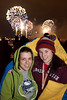 Two peas in a pod: gal-pals Jazmyn Gideon and Natalie Worfley keep warm for the fireworks.