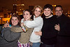 Group hug: Kayla Hawkins, Ashley Burkhead, Jenny Robinson, Steven Michael, and Nevan Hooker go for group warmth.