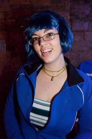 Victoria Darst works the scene bedecked in blue.