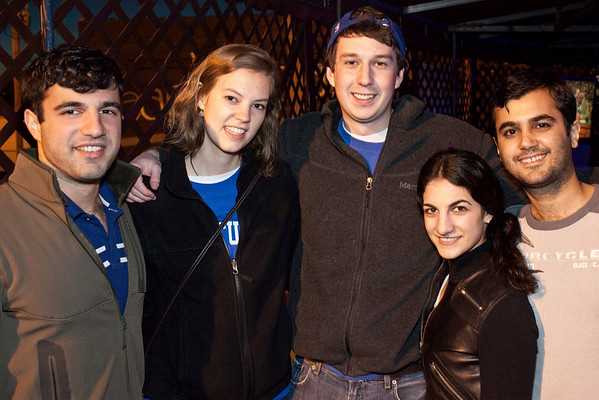 Colin Gray, Cate Williamson, Mahyar Ghorbaian, Roxanna Ghazi, and Cameron Ghazi preferred to watch the game in the open air.