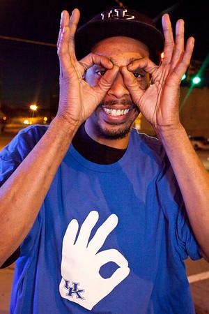 Corey Williams (aka Wildcat Corey) flashes the universal three sign.